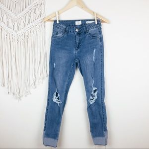 Cotton On • Distressed Mid Grazer Skinny Jeans